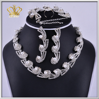 brass plated crystal rhinestone bead necklace earrings set jewelry sets for anniversary wedding gift
