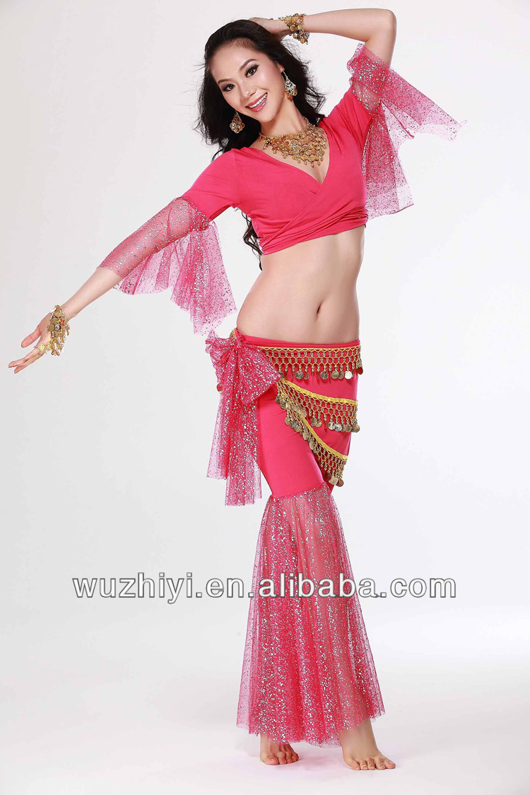New See-through Shining Veil Belly Dance Practice Costumes Sets Milk Silk Belly Dance Dress QC2068-1