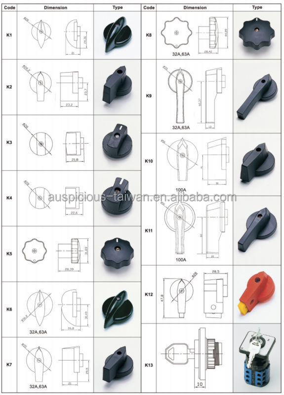 20A, 25A, 32A, 63A Rotary Changeover Switch, Cam Switch, ON-OFF Power Switch