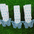 Blue bowkot shape for room paper decorative custom clips wooden made