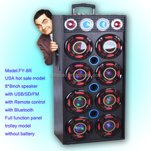 Big power stage speaker with disco light professional speaker box for USA market