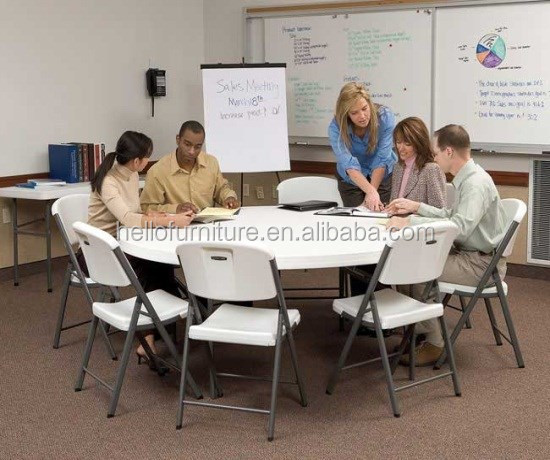 5ft round extending office table, portable for discussion, lecture, meeting