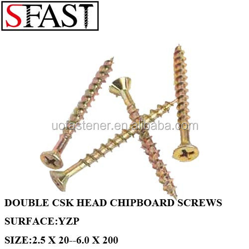 YELLOW ZINC PLATED DOUBLE CSK POZI HEAD <strong>CHIPBOARD</strong> <strong>SCREWS</strong> Cr3 SALT SPRAY:48HOURS