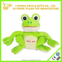 2014custom wholesale stuffed animal cute girl gifts green plush Valentine frog