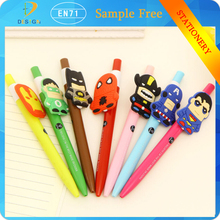 2015 New Novelty 3D Cartoon Hero Doll series gel-ink student pens for Korean stationery