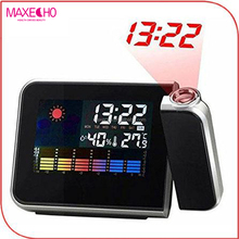 MAXECHO Weather Projector Alarm Clock, Color Screen Calendar, Temperature Humidity Wall Projection Alarm Clock