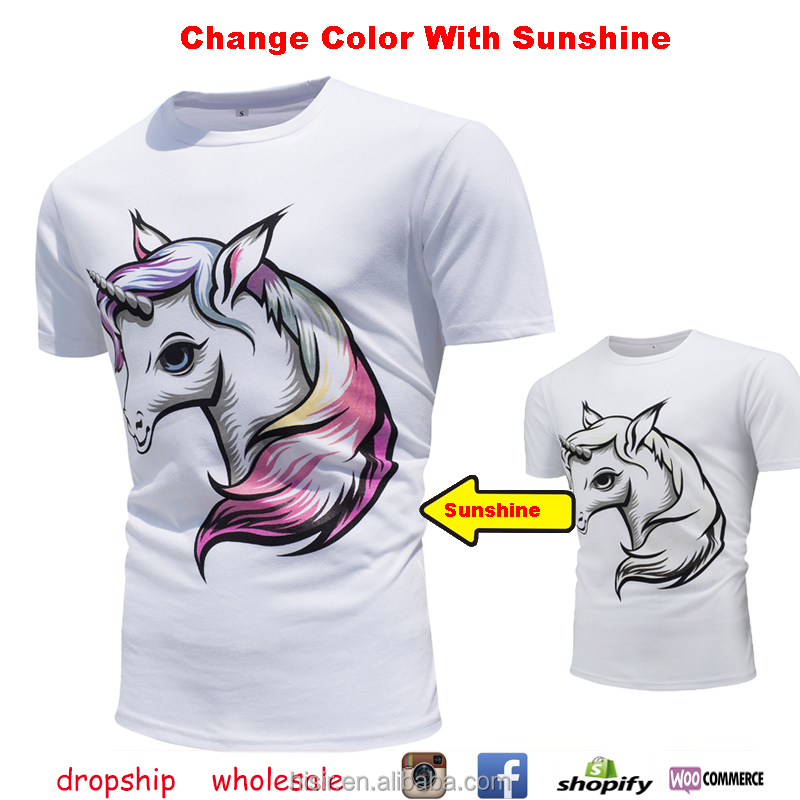 Dropship And Wholesale 2017 New Stock Print Tees Color Changing Men T-shirts With Sunshine