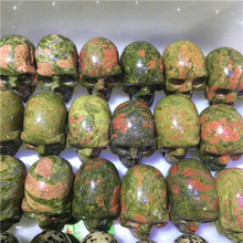 Natural Unakite Stone Carved Crystal Skull For Sale