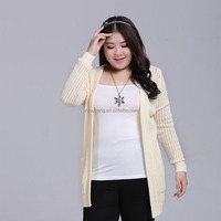 Customized open front big size knitted women sweater