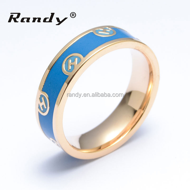 custom made stainless steel cheap enamel rings gold