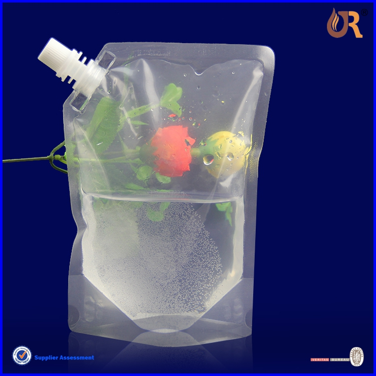 custom newly stand up spout pouch bag for liquid / clear reusable food spout pouch/high quality drink spout pouch