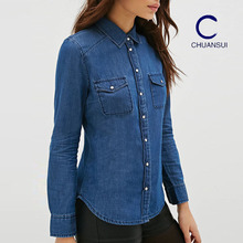 New style latest shirt designs custom long sleeve washed women lady denim shirt