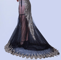 See through sexy mermaid black embroidered net dresses for prom dress