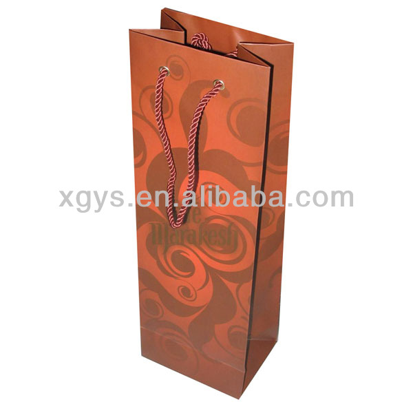 Delicate Workmanship Luxury Wine Paper Bag Gift Paper Bag (XG-PB-348)