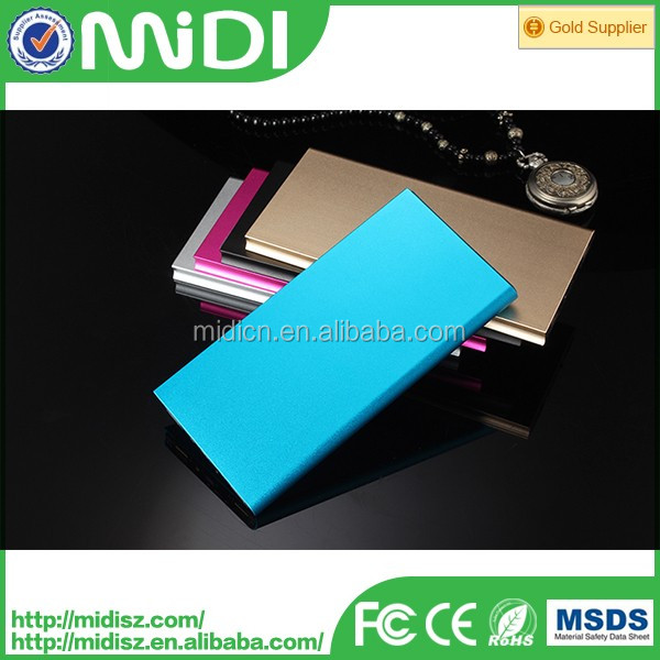 Factory price new design mobile charger 12000 mah slim power bank with dual usb led light colourful case