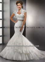 2013 new arrival beaded short sleeve beaded appliqued lace ruffled bridal wedding dresses CWFaw5371