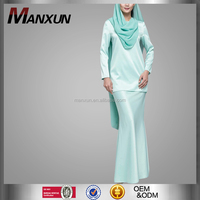 Hot Style Isalmic Clothing Modern Kurung With One Sided Chiffon Cape In Green Fashion Baju Kurung Moden