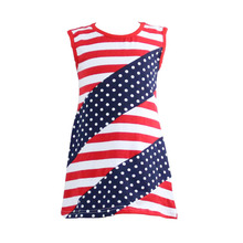 High Quality girls party dresses Children Sleeveless with strip&polk dot 4th july patriotic baby clothes