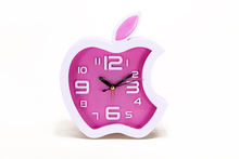 Creative Design Apple Shaped 3D digital table Alarm Clock Mini Wall Clock Decorate Prommotion Gifts Funny Children Alarm Clock