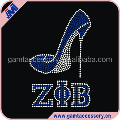 Shine Iron on zeta phi beta high heel Rhinestone Trasnfer wholesale