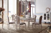 Luxury Dinning table set wood craved Dining room furniture