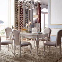 Luxury Dinning Table Set Wood Craved