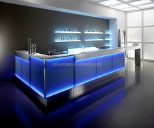 factory price night bar wooden wood bar counter design L shape led strip lighted granite top