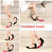 New design shoes 2016 design your own pumps folding heels