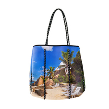 Custom made promotional handlebag ladies beach bags large capacity perforated neoprene bag
