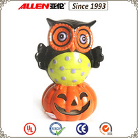 "8.8"" ceramic owl standing on pumpkin led lantern, ceramic led pumpkin lantern, Halloween led lantern"