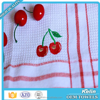 Wholesale Embroidered Standard size cotton waffle tea towel kitchen towel