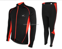 Fleece winter long sleeve cyclingwear warm up long sleeves jersey/shorts