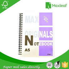 Cheap bulk custom A5 hardcover plain spiral plastic rings bound double wire spring school notebook with yellow manila paper
