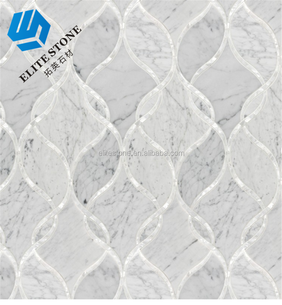 BIANCO CARRARA interlocking ribbons Polished Waterjet Patterns mosaic tile