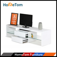 Simple Wood 2 Drawers Design White Led Modern TV Stand