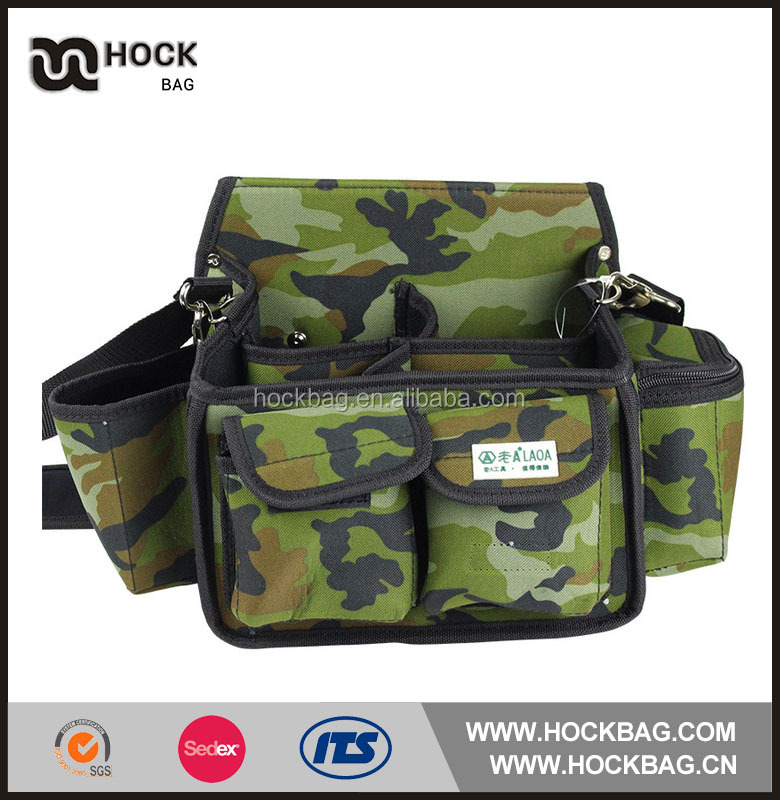 Sling Garden Camouflage Tool Bag heavy-duty polyester carpenter waist tool bag with poly belt