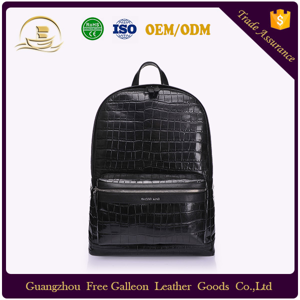 Black genuine crocodile leather backpack tactical men's hidden compartment backpack