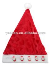 2012 new fashion red embossed velour santa claus hat with cute animated father claus