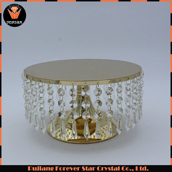 wholesale round crystal birthday cake stand for wedding decoration