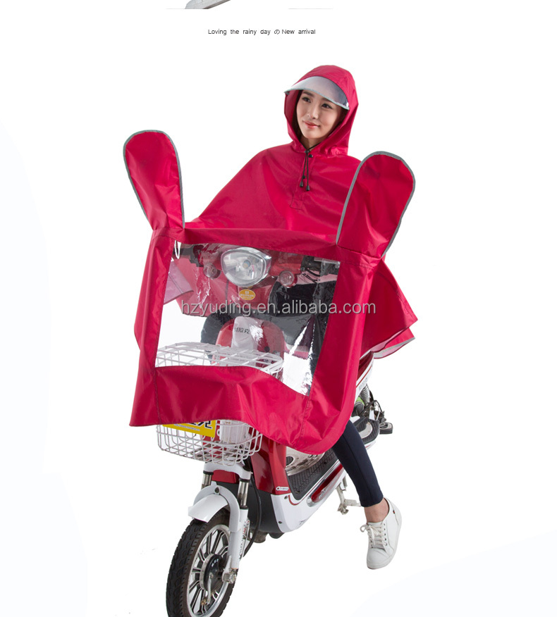 100% Waterproof Motor Bike Polyester Transparent Brim Raincoat Unisex Adult Riding Rain Coat Rain Poncho