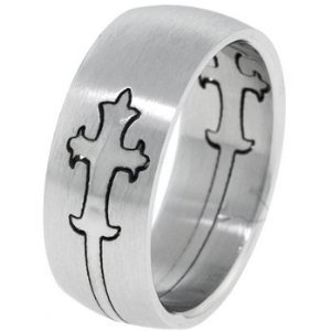 Gothic Cross Stainless Steel Puzzle pattern Ring Size 10
