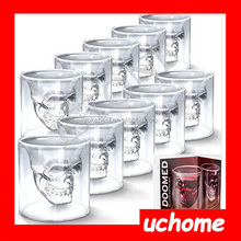 UCHOME Doomed crystal skull shot glass, double wall glass cup factory promotion