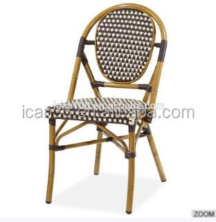 Aluminum bamboo look bistro rattan chairs
