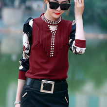 W30751H 2015 new design women tops and blouses ladies blouses with diamond collar