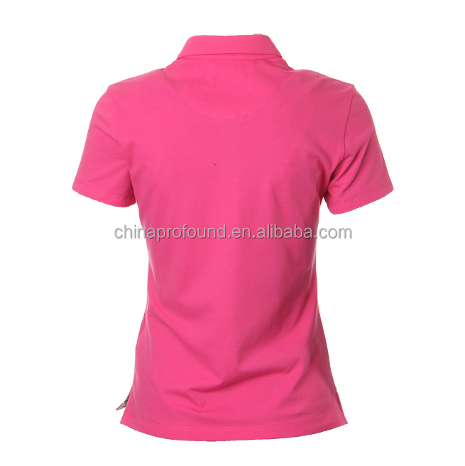 Hot Pink flower fabric lining slim fit custom women polo shirts