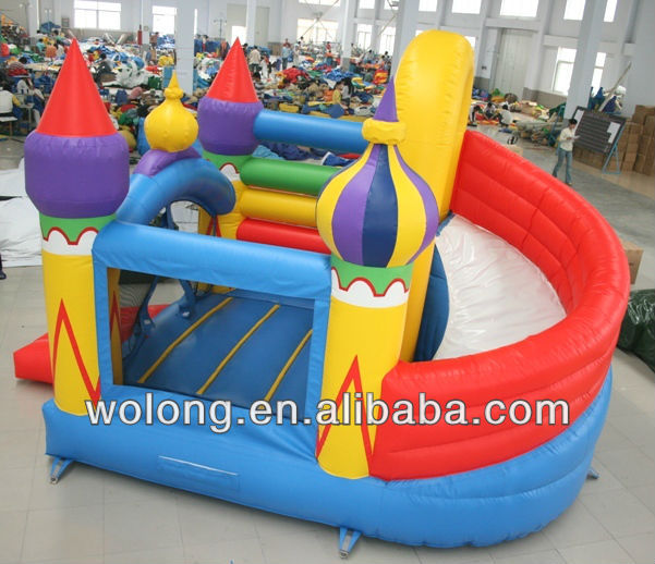 popular cheap inflatable Bounce with Rotating Slide, bouncy castle prices
