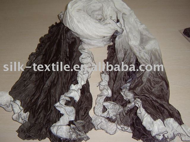 white and black hand painting silk scarves