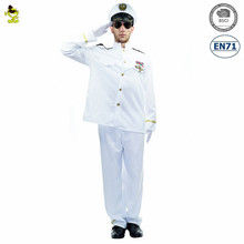 Halloween fancy cosplay party white sailor costume for men