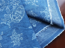 100% floral cotton printed denim fabric for shoes, bags, shirts, jeans ans etc