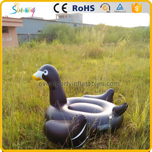 Popular large adult inflatable black swan pool floats for summer swimming